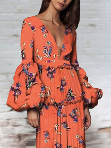 Sexy Floral Deep V Collar Long Puff Sleeve Maxi Dress