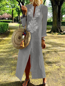 Casual Cotton Linen Long Sleeves Vintage Dress