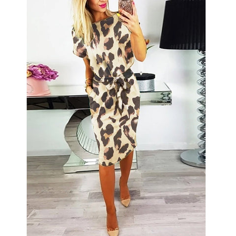 Crew Neck  Belt Contrast Stitching  Leopard Bodycon Dresses