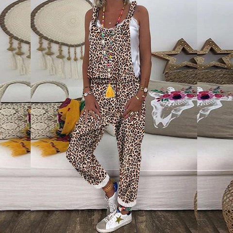 Casual Printed Colour Sleeveless Cross Belted Jumpsuit