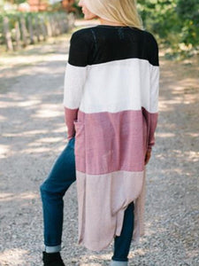 Casual Fashion Vacation Loose Color Block Long Sleeve Long Cardigan