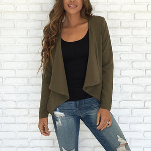 Cotton Autumn Basic Plain Jackets