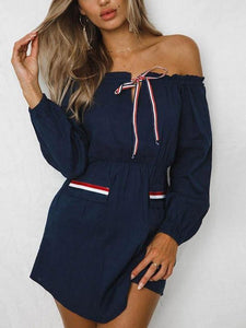 Sexy Off Shoulder Long Sleeve Pocket Casual Dress