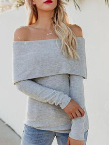 Fashion Off Shoulder Plain Long Sleeve T-Shirts