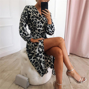 Casual Sexy V Collar Leopard Print Long Sleeved Show Thin Maxi Dress