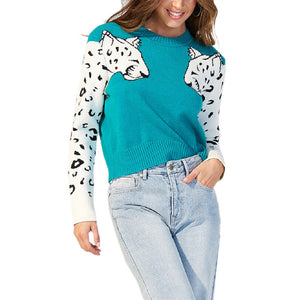 Casual Round Neck Long Sleeve Leopard Sweater
