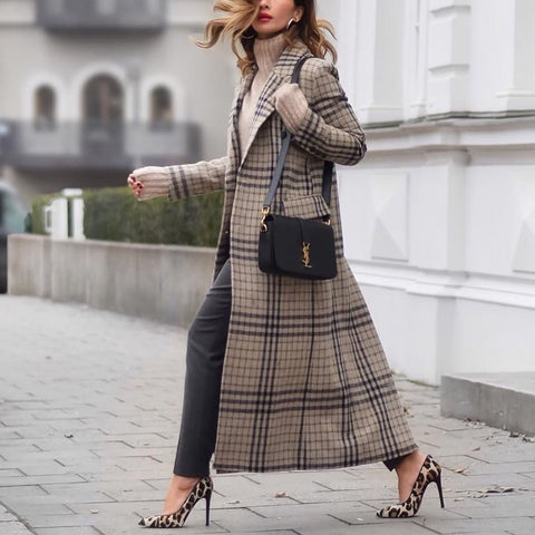 2019 CEA Women's Fashion Grid Long Sleeve Overcoat