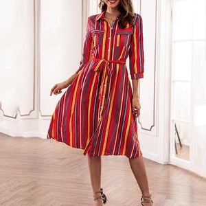 Loose Casual Color Striped Dress