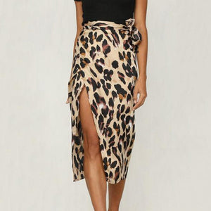 Slit  Leopard Skirts