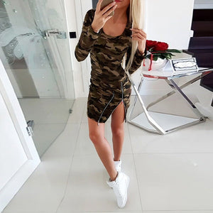 daily low round neck camouflage zips fitted dress