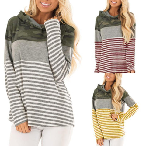 Round Neck Stripe Long Sleeve Hoodies
