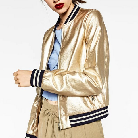 Metallic Stand-Up Collar Pu Leather Baseball Uniform Jacket