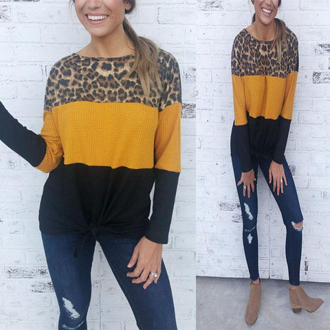 Round Neck  Color Block Leopard T-Shirts