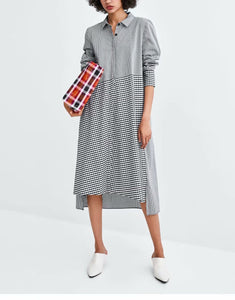 Plain Plaids Patchwork Shirt Dress