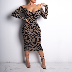 Sexy Leopard-Print Long Sleeved  Off Shoulder Maxi Dress