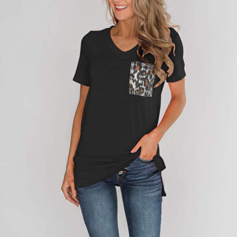 Women's Knitted Leopard Printed Pocket T-Shirt