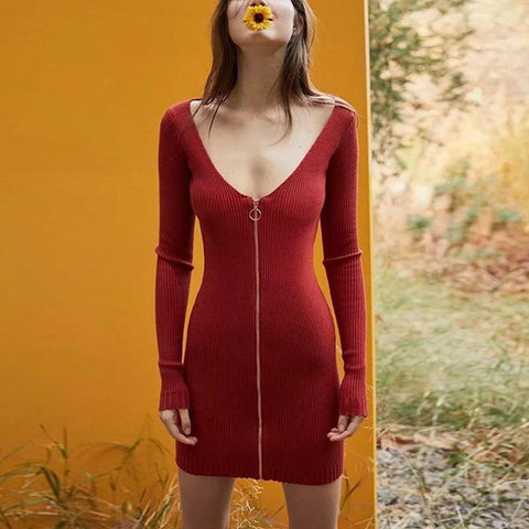 Fashion Long Sleeve Zipper Bodycon Dress