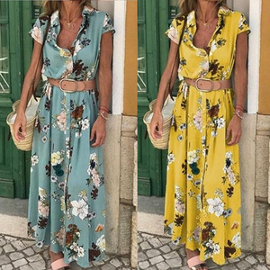Floral Printed Short Sleeve Lapel Belt Maxi Dresses