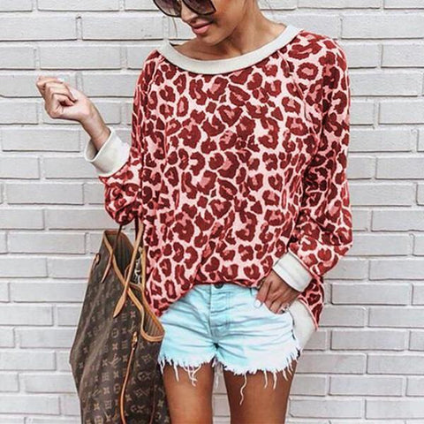 Autumn And Winter Sexy  Leopard Round Collar Long-Sleeved Blouses