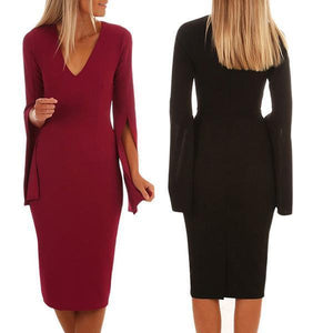 Fashion V-Neck Bell Sleeve Bodycon Dress