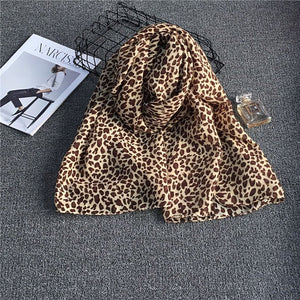 Super Long Leopard Pattern Chiffon Scarf Spring Summer Shawl