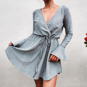 Casual Long Sleeved V   Collar Pure Color Sexy Mini Dress