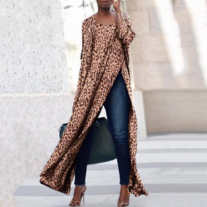 Scoop Neck Side Vented  Leopard Print Blouse