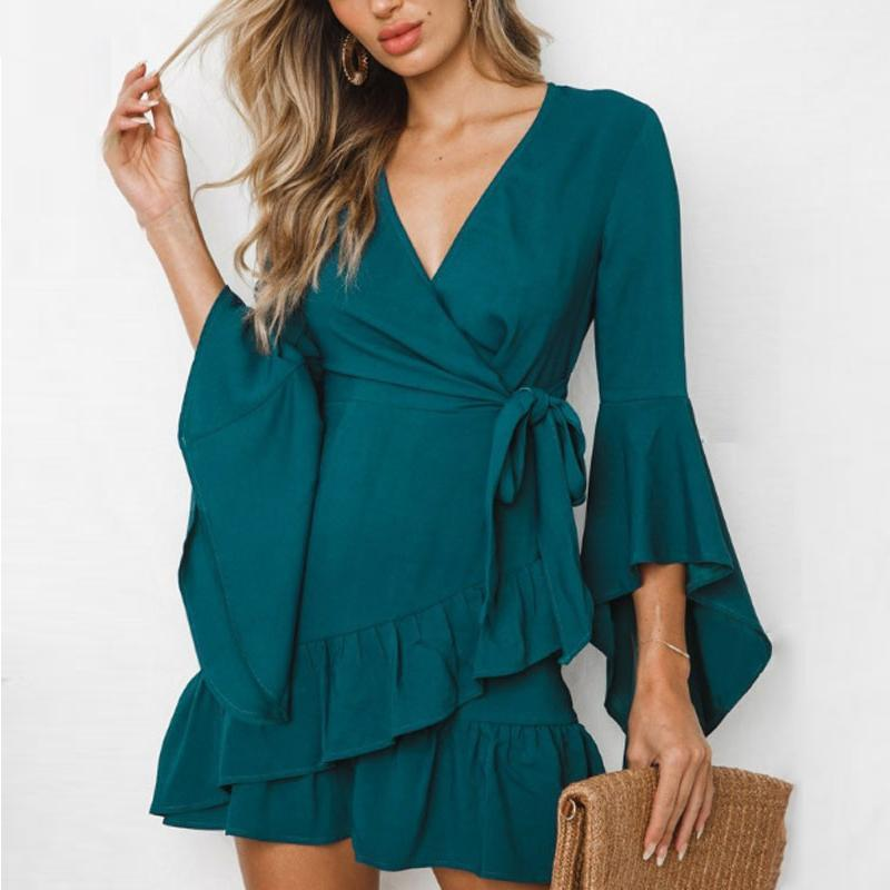Surplice  Belt  Plain  Bell Sleeve  Three Quarter Sleeve Casual Dresses