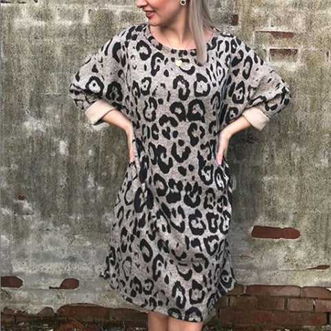 Leopard Print Long Sleeve Loose T-Shirt Dress
