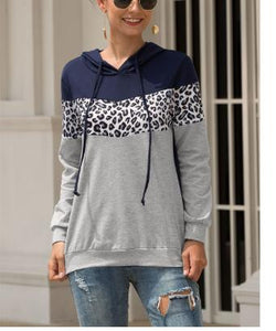 Leopard Stitching Hooded Drawstring Hoodies