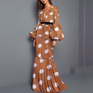Sexy Polka Dot Printed Split Joint Maxi Dress