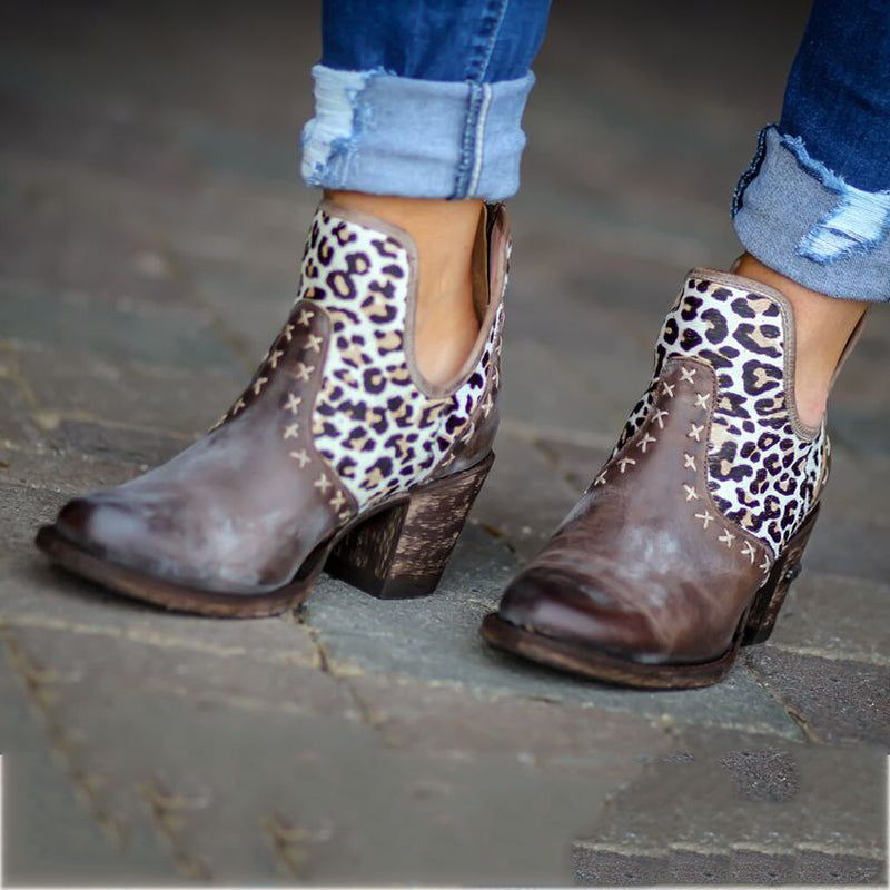 Women's fashion mosaic leopard embroidery ankle boots
