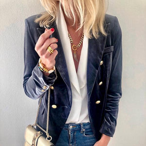Fashion Suede Suit Jacket Blazer