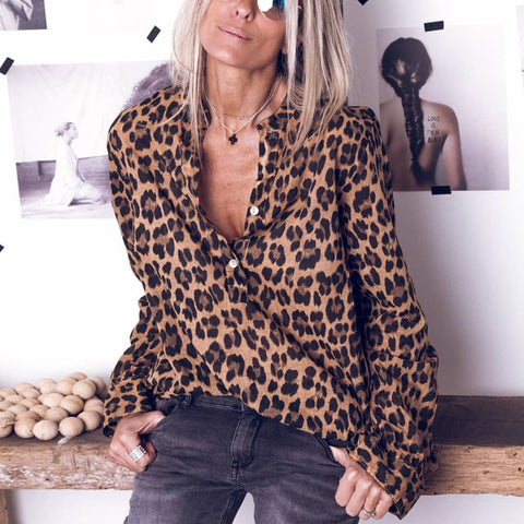 Fashion Long Sleeve Leopard Print Shirt