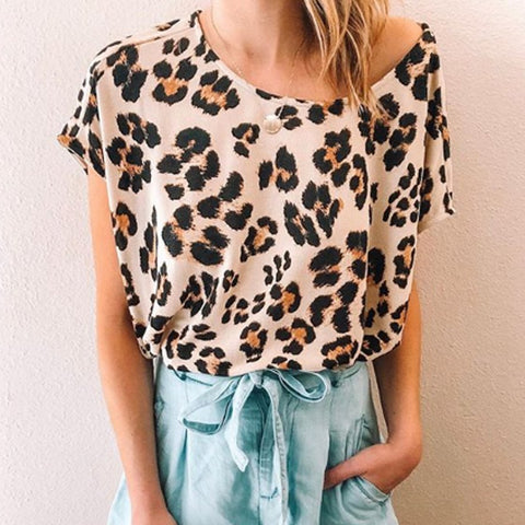 Casual Off-The-Shoulder Printed Short Sleeve T-Shirt