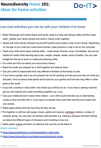 DoIt - low cost Ideas for learning activities at home