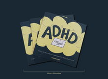 Load image into Gallery viewer, Dark blue background with a pile of 3 books titled ADHD and Me