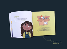 Load image into Gallery viewer, Dark blue background with ADHD and Me book open on the 'Ideas' page which includes text and images of a girl and a box full of random objects