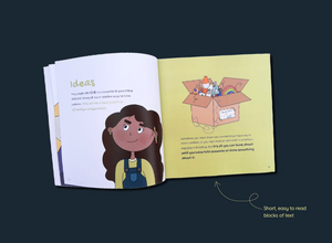 Dark blue background with ADHD and Me book open on the 'Ideas' page which includes text and images of a girl and a box full of random objects