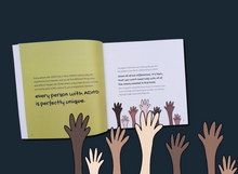 Load image into Gallery viewer, Dark blue background with image of ADHD and Me book open showing one green and one white page both with black text on. Under the book is an image of hands and forearms of various skin tones