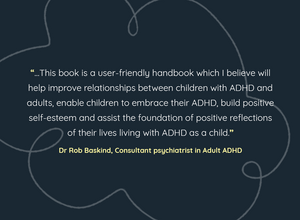 Dark blue background with white pattern and text which is a review of ADHD and Me book. The reviewer's name is written below in yellow text