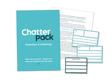 Load image into Gallery viewer, Mid blue workbook with ChatterPack written in white and blue text. Behind the workbook is an image of one of the inside pages showing text and in front of both is the resource made up