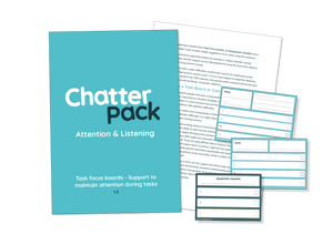 Mid blue workbook with ChatterPack written in white and blue text. Behind the workbook is an image of one of the inside pages showing text and in front of both is the resource made up