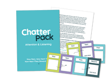 Load image into Gallery viewer, Mid blue workbook with ChatterPack written in white and blue text. Behind the workbook is an image of one of the inside pages showing text and in front of both is an image of 3 of the resource made up