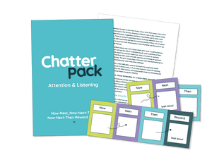 Mid blue workbook with ChatterPack written in white and blue text. Behind the workbook is an image of one of the inside pages showing text and in front of both is an image of 3 of the resource made up