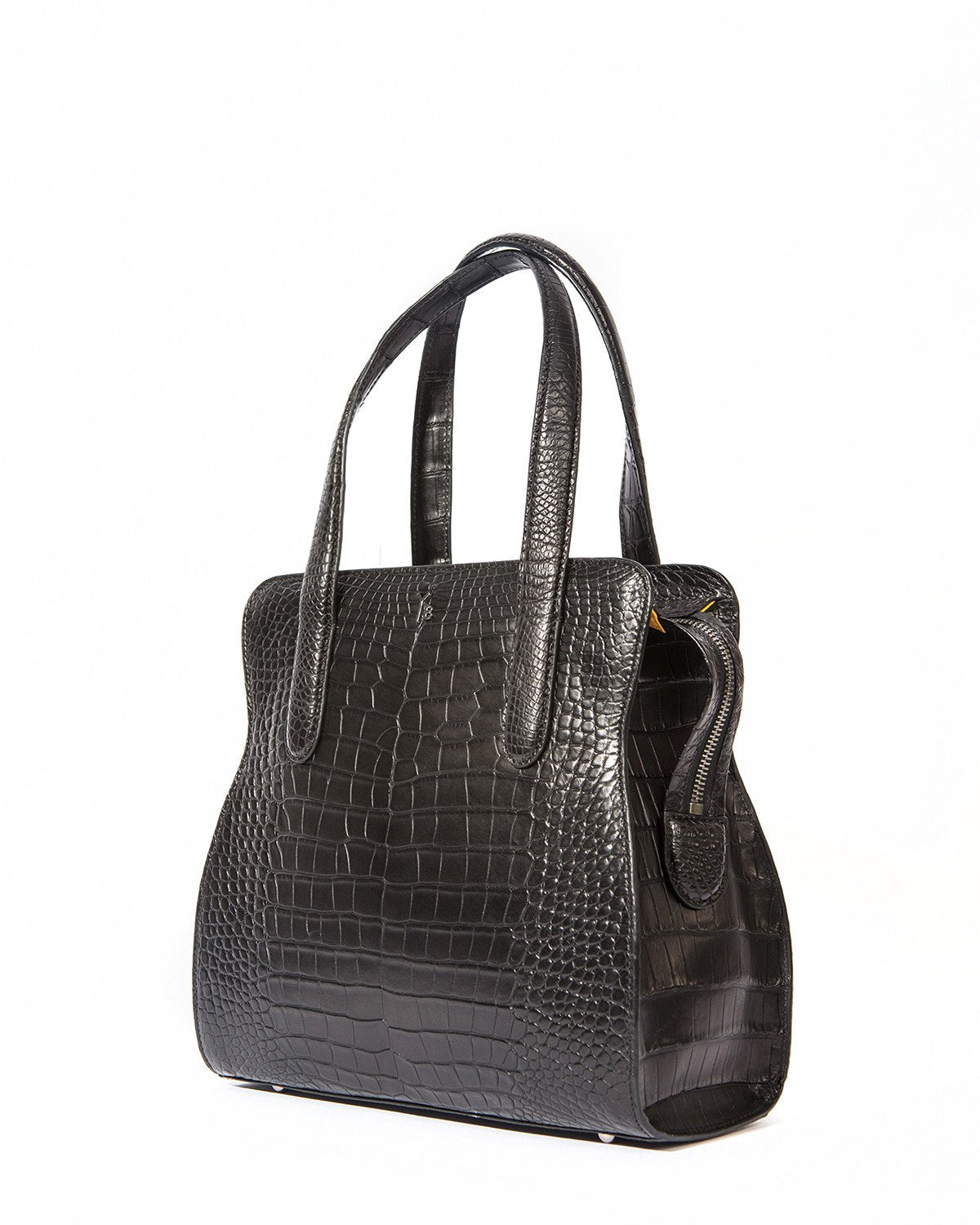Yara Bashoor YB ADAM S TOTE Curvy Coca Cola Bottle Shape Matte Black Genuine American Alligator Side View