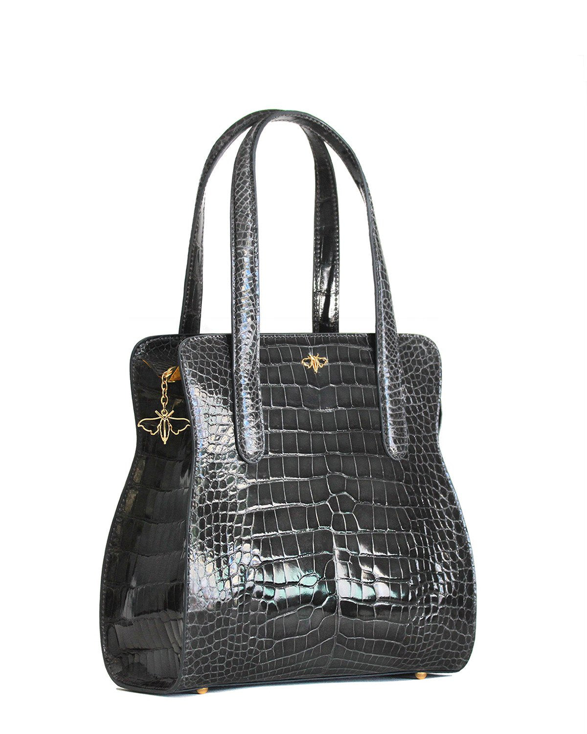 YB Charcoal Grey Genuine American Alligator Tote angle view Gold Zipper