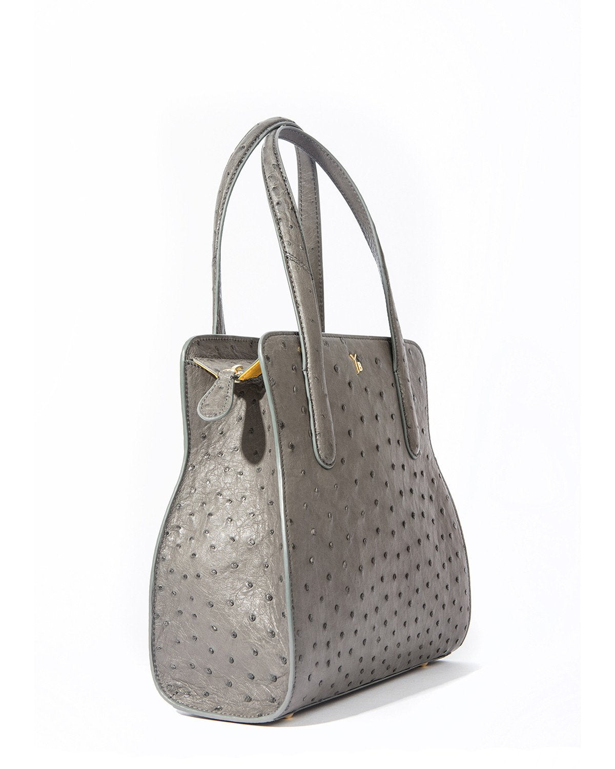 YB ADAM S Tote Grey Ostrich Side View Zipper Pull
