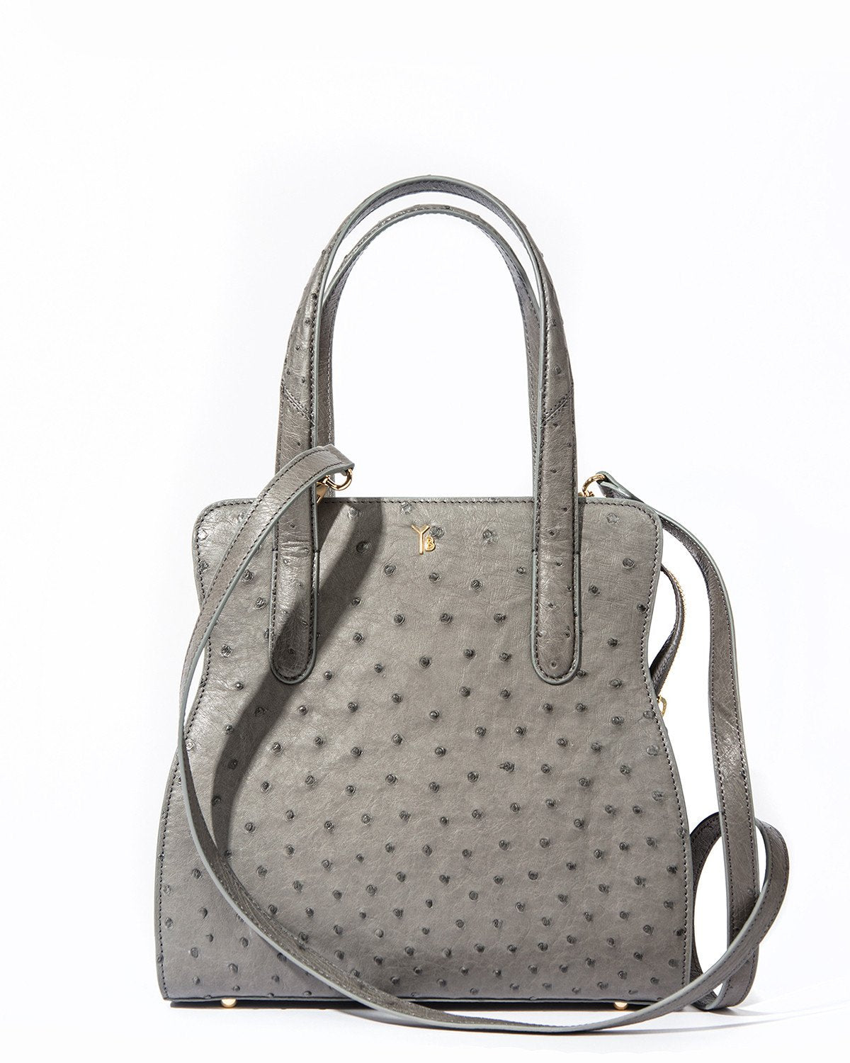 YB ADAM S Tote Grey Ostrich Attachable Long Shoulder Strap