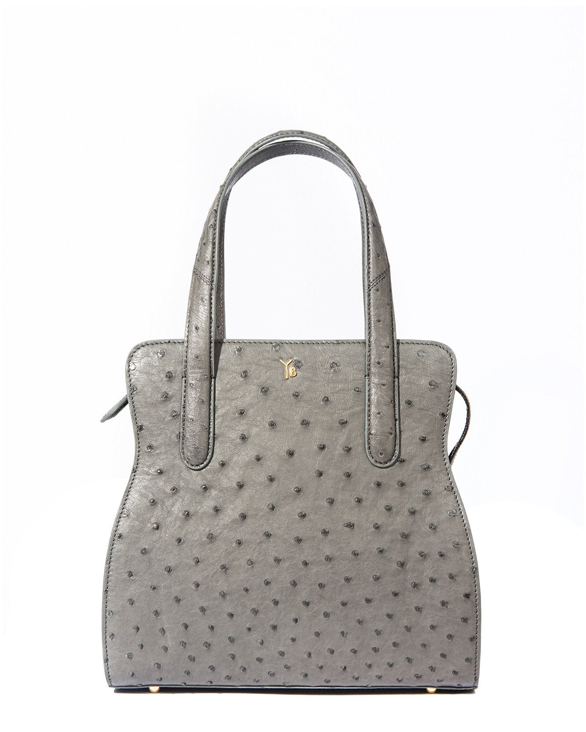Yara Bashoor YB ADAM S TOTE Grey Ostrich Front Iconic Coca Cola Shape Silhouette